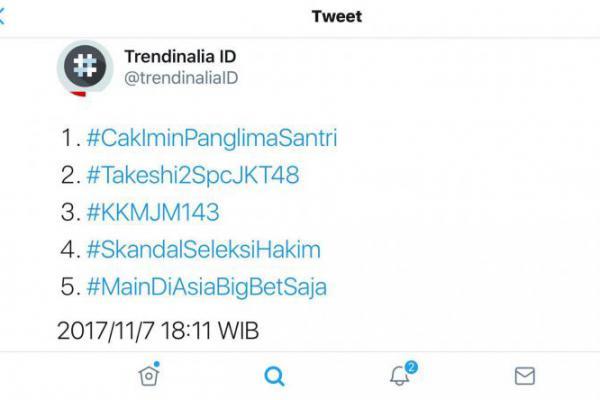 Hastag #CakIminPanglimaSantri Puncaki Trending Topic Twitter