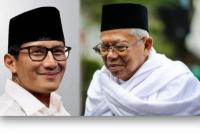 Elektabilitas Cawapres, Ma`ruf Amin Kalahkan Sandiaga Uno