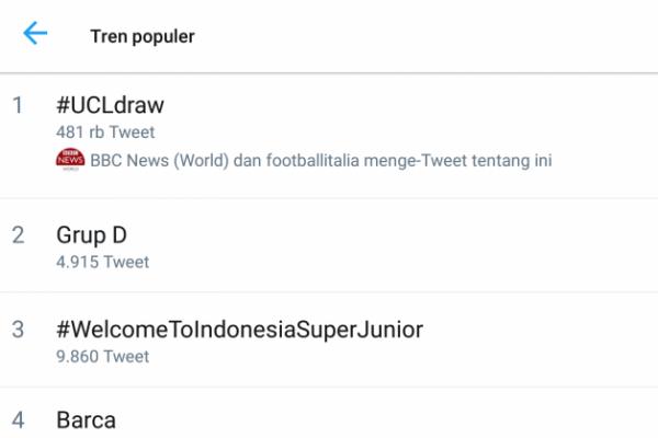 Trending Topik Dunia, Tagar #UCLDraw Hampir Setengah Juta Tweet