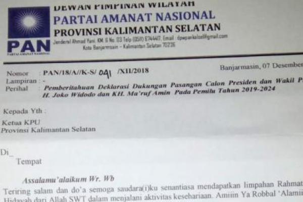 Abaikan Arah Koalisi DPP, DPW PAN Kalsel Dukung Jokowi