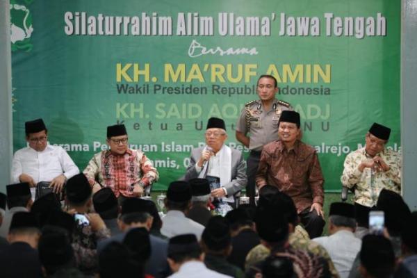 Didampingi Gus Muhaimin, Wapres Kiai Ma`ruf Hadiri Silaturrahim Alim Ulama Jawa Tengah
