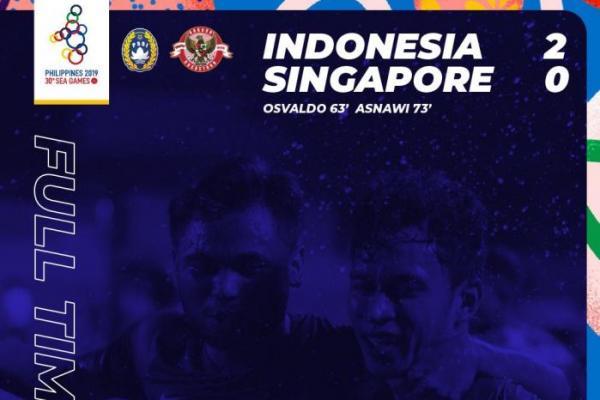 Sea Games 2019, Timnas Indonesia U-22 Gilas Singapura 2-0