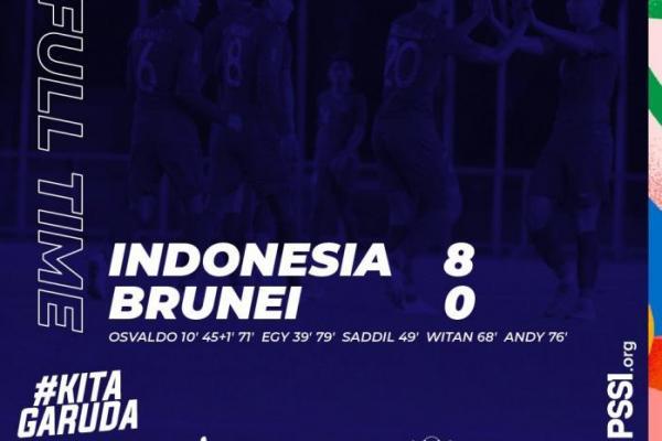 Pesta Gol, Indonesia Hajar Brunei Darussalam 8-0