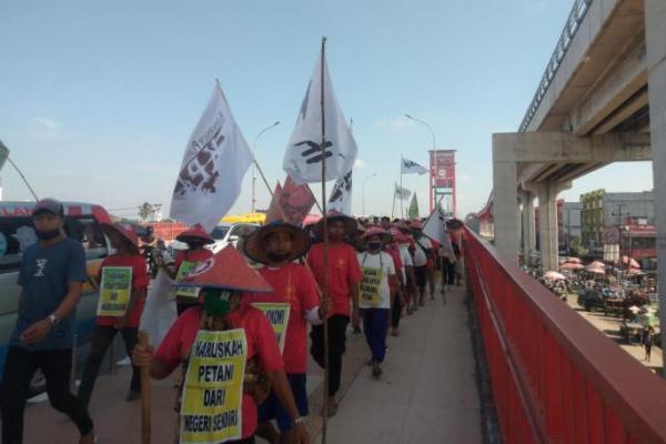 Libas 1100 KM, Petani Simalingkar Lanjut Jalan Kaki ke Istana Demi Keadilan