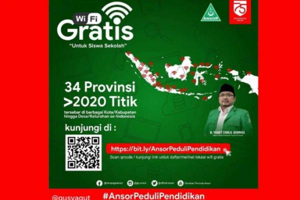 GP Ansor Luncurkan 2020 Titik Wifi Gratis Bantu Siswa PJJ