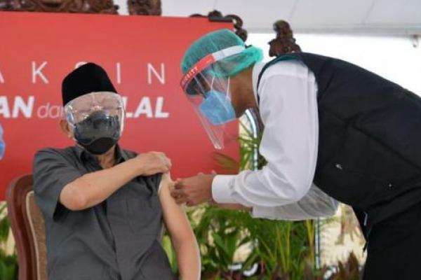 Wapres KH Ma`ruf Amin Disuntik Vaksin Covid-19 Dosis Pertama