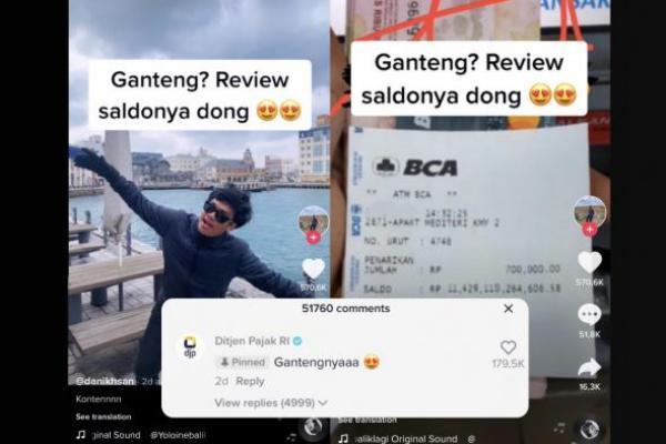 Dirjen Pajak Aktif Komen di Tren `Ganteng Review Saldo Dong`