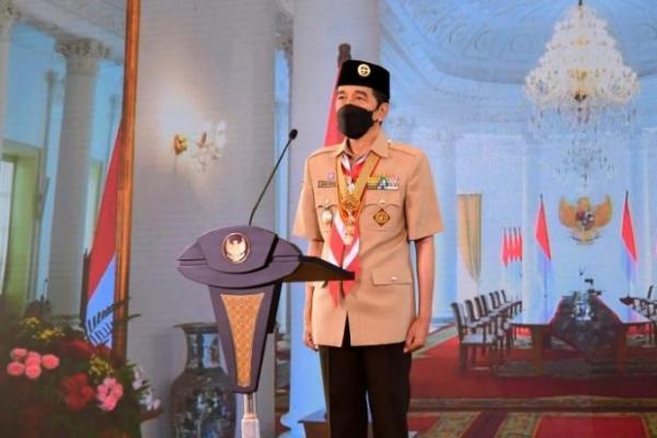 Hari Pramuka ke-60, Presiden Jokowi: Pramuka Harus Jadi Pelopor Disiplin Prokes